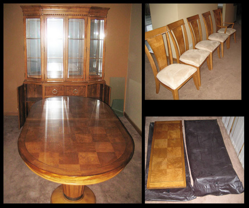 Honey oak dining room set hutch table chairs 3500 retail for Dining room table and hutch sets