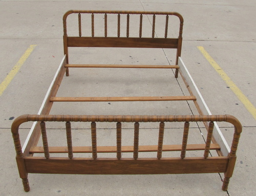 vintage 1940 39 s solid oak full size jenny lynn bed wood frame foot headboard ebay. Black Bedroom Furniture Sets. Home Design Ideas