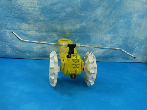 Nelson Traveling Tractor Sprinkler : Nos nelson rain train iron tractor traveling yellow garden
