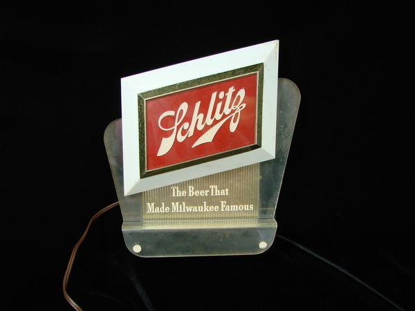Man Cave Lighted Beer Signs : Schlitz beer bar lighted register topper sign vintage