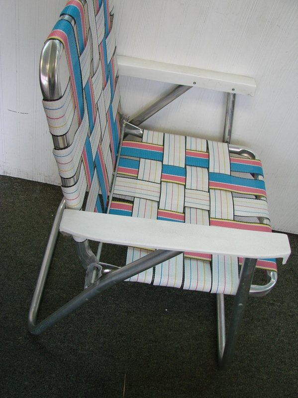 up for sale today we have a vintage webbed aluminum folding beachlawn chair in white pink and blue this vintage folding chair is in very good overall - Folding Lawn Chairs On Sale