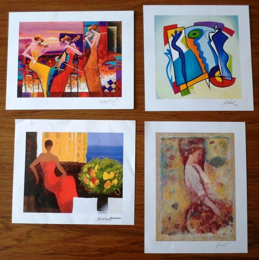 4 serigraphs w coas emile bellet hua chen alfred gockel for Emile bellet interieur