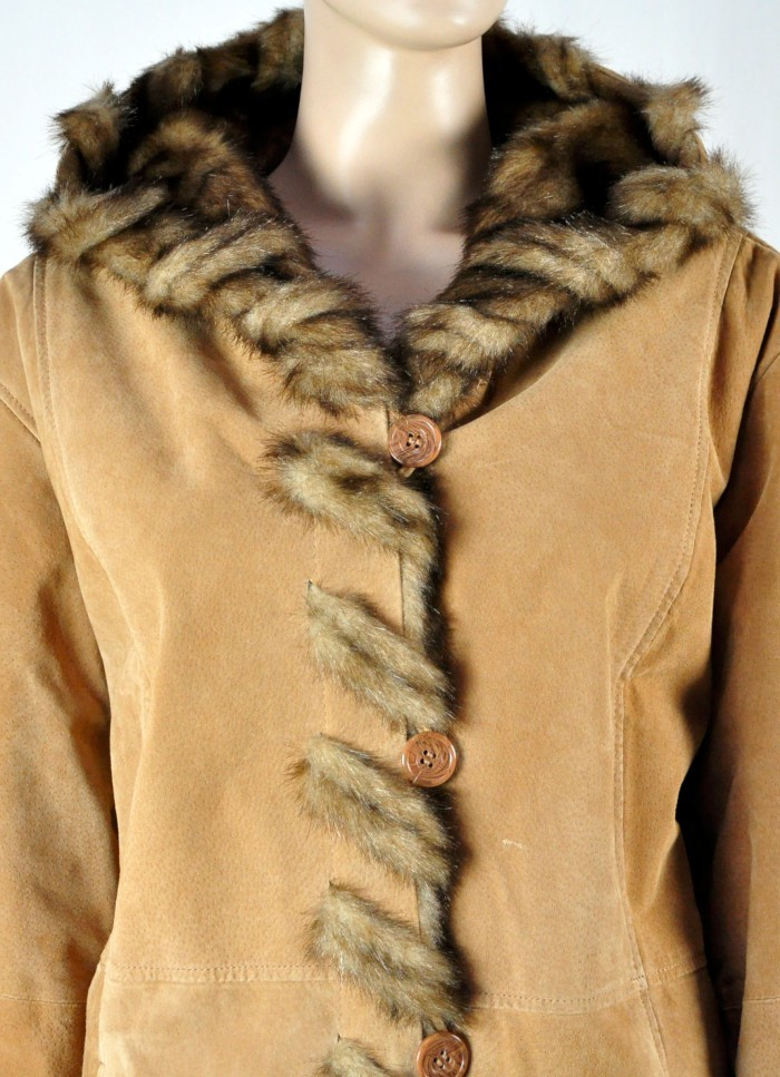 Dennis Basso Leather Whip Stitch Faux Fur Hooded Winter