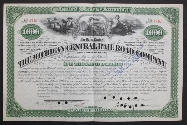 The Michigan Central Railroad Company 1925 $1000 Bond Certificate
