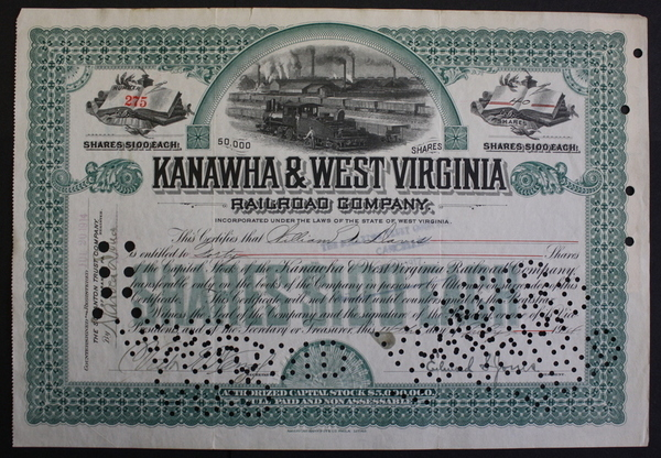 Kanawha & West Virginia Railroad Company 1914 Stock Certificate