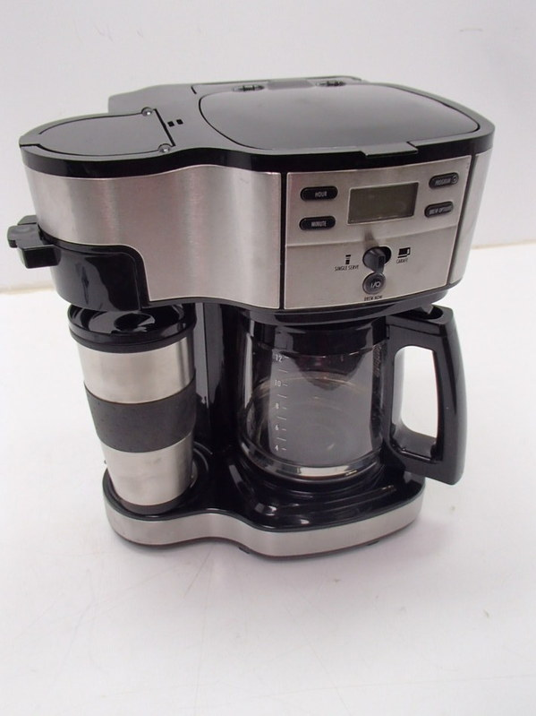 Hamilton Beach 49980Z Two Way Brewer Single Serve and 12 cup Coffee Maker Stain eBay