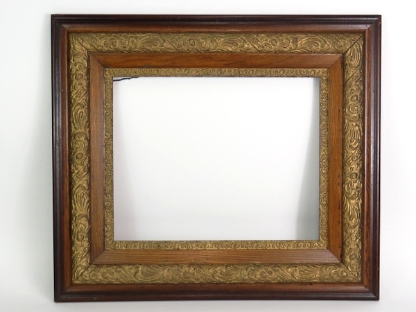 antique frame oak frame large 16x20 with gold gesso victorian mission arts