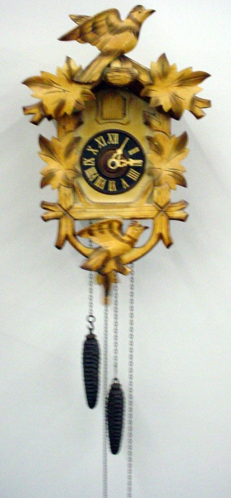 Vintage cuckoo clock 8 day chalet style bird and leaf germany ebay - Cuckoo bird clock sound ...
