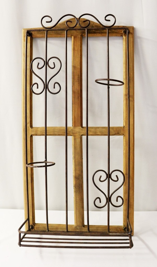 Iron & Wood Window Frame Decorative Flower Pot Rack Large ...