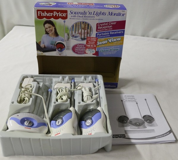fisher price sounds 39 n lights w dual receivers baby monitor model b9637 ebay. Black Bedroom Furniture Sets. Home Design Ideas