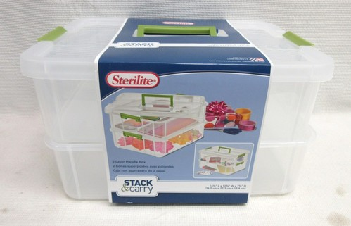 Sterilite Stack Amp Carry 2 Layer Handle Box Plastic Utility