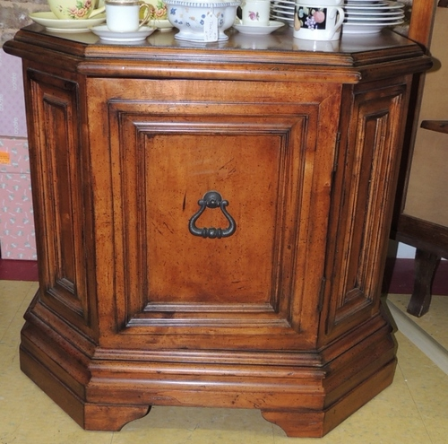 Vintage side end table cabinet wood octagon ebay