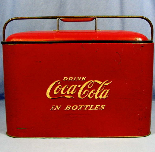 Vintage Coca-Cola Red Metal Cooler w/Drain Plug & Bottle ...