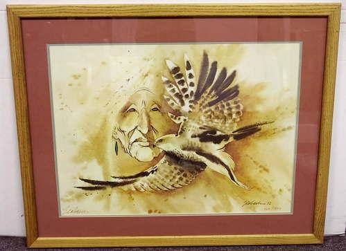 Bert D Seabourn Prairie Falcon Native American Signed