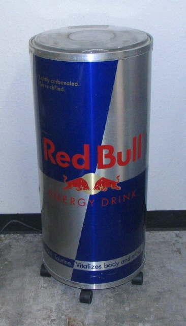 Tall Can Cooler ~ Red bull quot tall stand up promotional cooler on wheels no