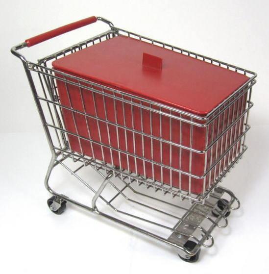 Vintage Dreamkeeper Chrome Mini Grocery Shopping Cart W Red Insert Lid Box Ebay