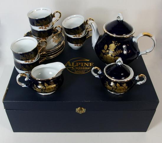 17 pc vintage alpine cuisine tea set fine porcelain china for Alpine cuisine tea set
