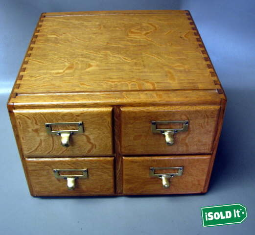 Card Stacking: ANTIQUE VINTAGE OAK LIBRARY CARD STACKING FILE CABINET BOX