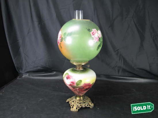 Vintage Antique Double Globe Huricanne Brass Amp Painted