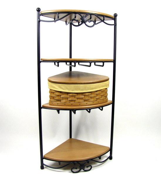 longaberger wrought iron corner rack w shelves 2003. Black Bedroom Furniture Sets. Home Design Ideas