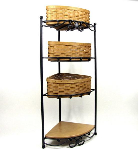 longaberger wrought iron corner rack w 2002 corner basket. Black Bedroom Furniture Sets. Home Design Ideas