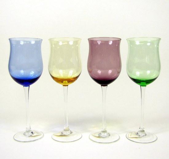 Vintage set 8 lenox crystal assorted color gems tulip wine glasses goblets ebay - Lenox colored wine glasses ...
