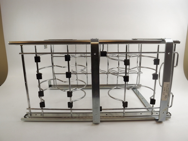 Pull out metal two teir under counter cabinet pots and pan organizer rack used ebay - Cabinet pull out pot rack ...