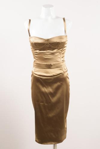 dolce  gabbana bronze gold satin belted sleeveless corset