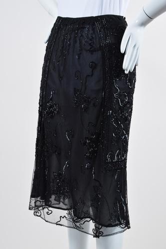 dolce gabbana black mesh sequin beaded sheer knee length
