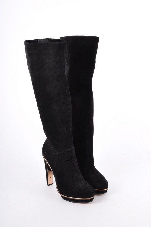 bcbg max azria black suede platform knee high leather