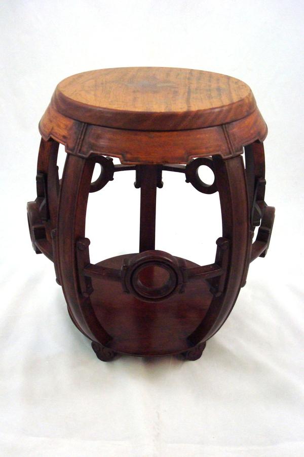 Vintage oriental chinese style teak wooden barrel shape