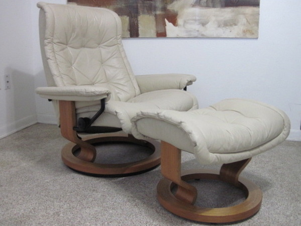 Ekornes Stressless Recliner Chair Danish Modern Leather Large ...