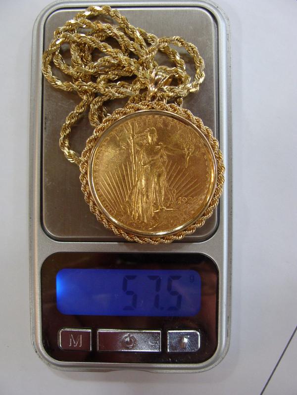 1922 Saint Gaudens 20 Twenty Dollar Gold Coin Necklace