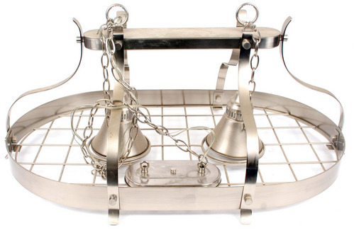 Stainless Steel Pot Rack w 2 Pendant Lights - P/U NJ | eBay
