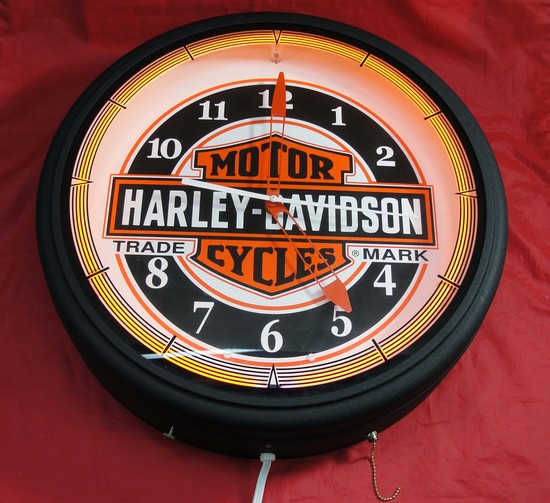 Harley Davidson Motorcycle Bar Shield Logo Neon Table Or: HARLEY DAVIDSON MOTORCYCLE SIGN NEON WALL CLOCK HDL-16625