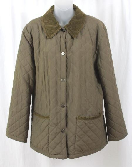 Italian quilted olive khaki women s barn jacket coat outerwear 46 12