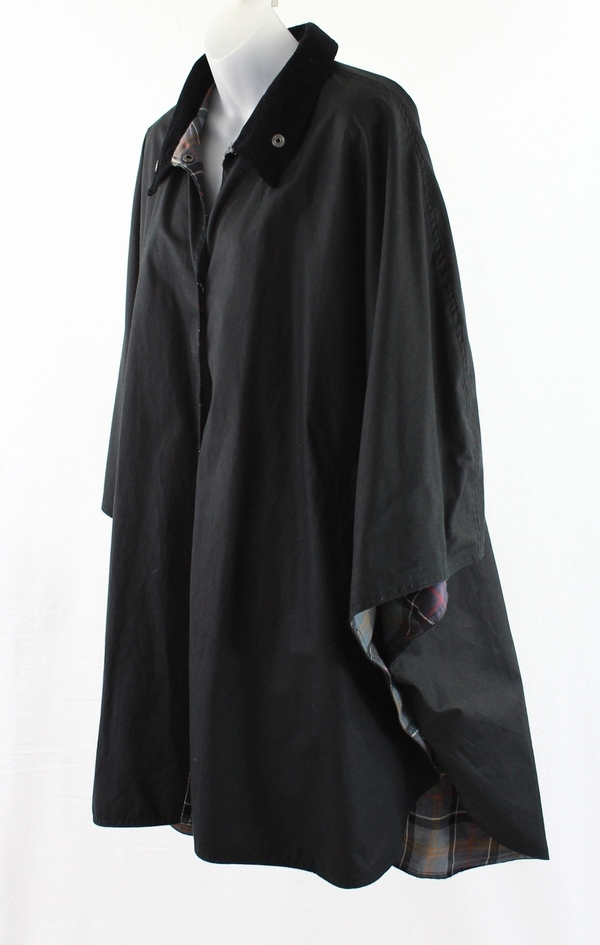 Barbour Black Waxed Cotton Poncho Jacket Collar Snaps Os