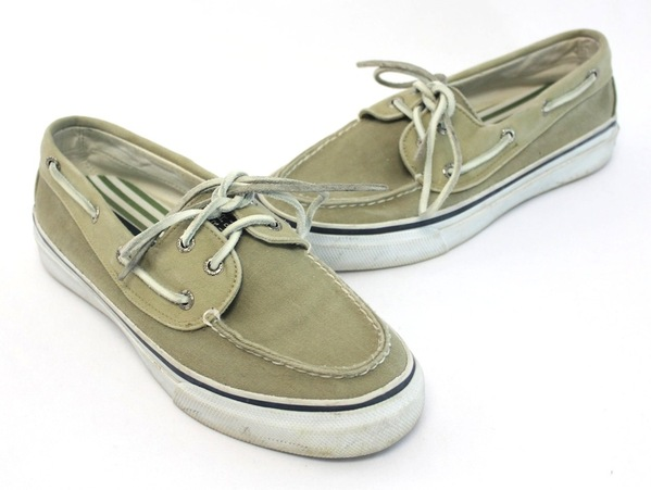 sperry mens olive beige canvas top sider boat shoe leather