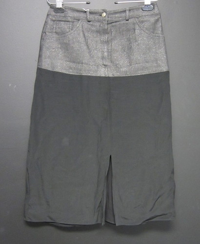christian grey silver denim skirt w black silk