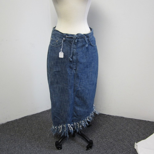 vivienne westwood anglomania fringe fishtail denim skirt