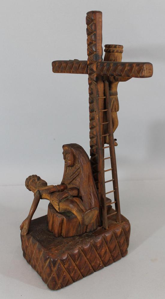 Antique spanish colonial folk art carved wood crucifixion