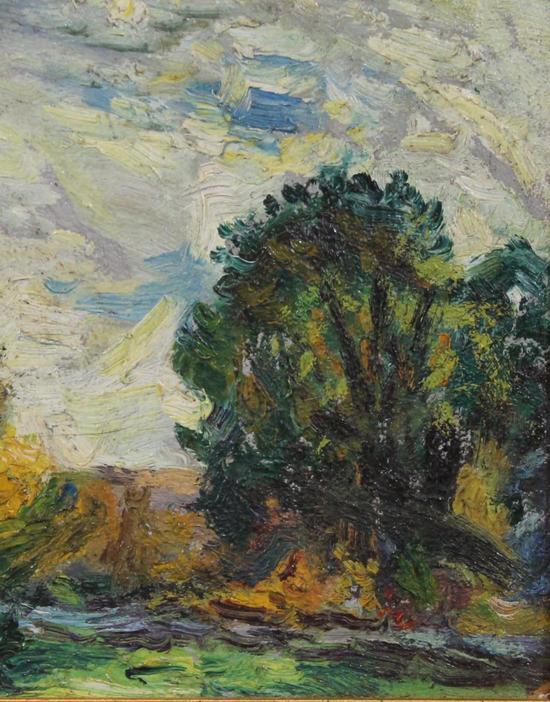 Landscape Miniature Oil Painting Signed S