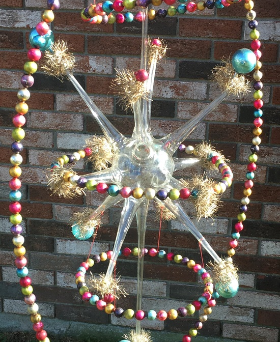 Gigantic 38in Antique Hand Blown Glass Christmas Ornament
