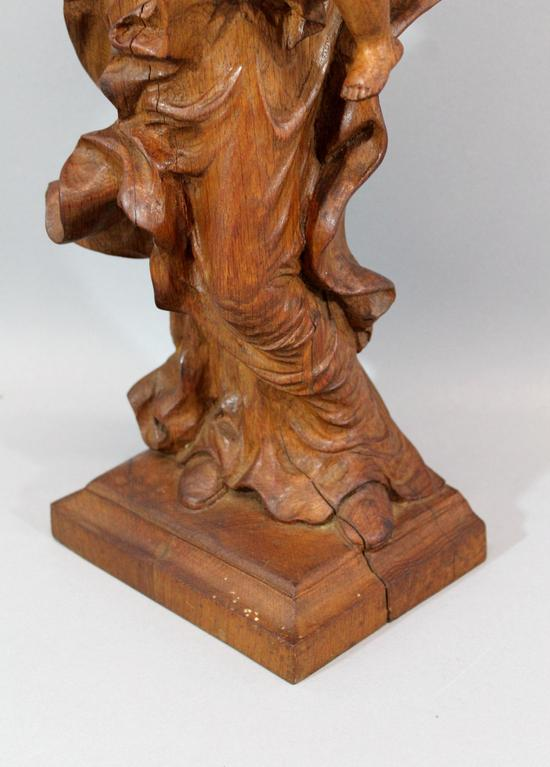 Antique hand carved wood italian religious madonna baby