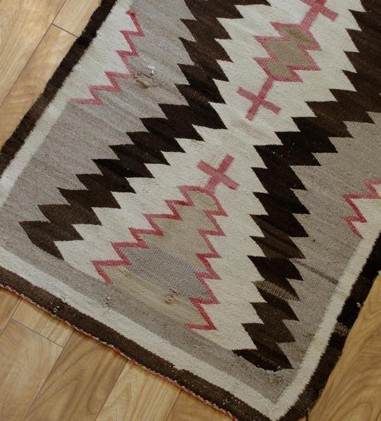 Antique Indian Rugs: Antique Western Native American Navajo Indian Wool Rug, No