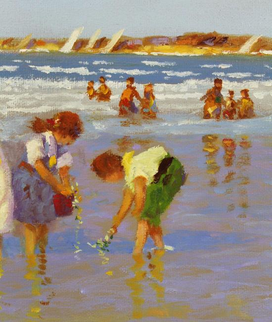 Vintage Original VERNON BROE, Children Playing On Cape Cod
