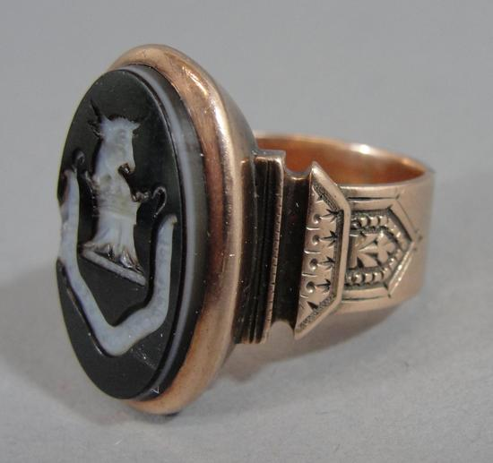 Antique rose gold intaglio carved agate wax seal signet