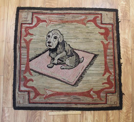Lg Antique Old American Folk Art Schnauzer Puppy Dog