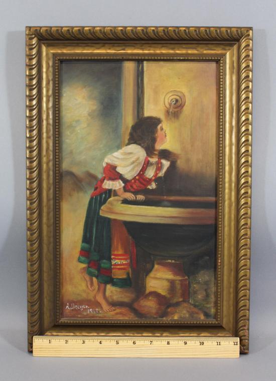 Antique Italian Genre Oil Painting Roman Girl At Fountain