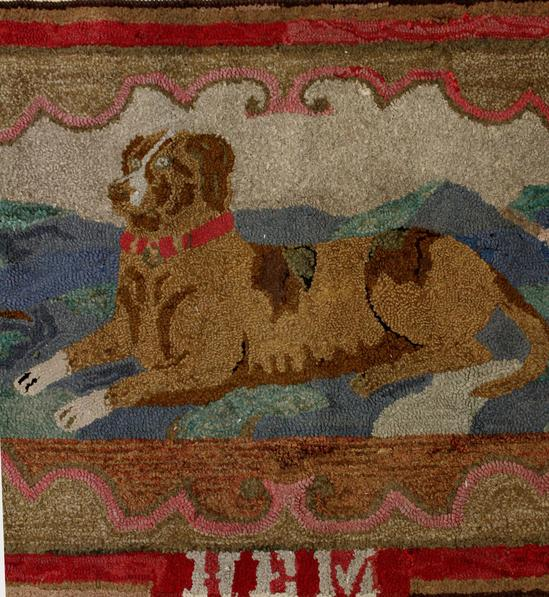 Dog Hooked Rugs: Antique Early 20thC Handmade American Folk Art DOG Wool